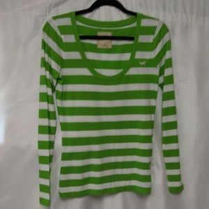 Woman's Hollister Green/ White Stripe Top Size M